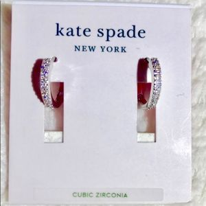 NWT! Kate Spade silvertone mini hoop earrings